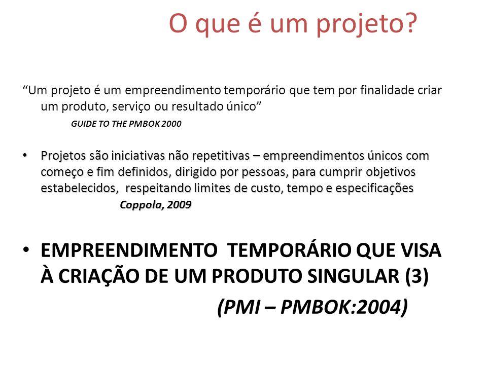O que é um projeto? Um projeto é um empreendimento temporário que tem por finalidade criar um produto, serviço ou resultado único GUIDE TO THE PMBOK 2