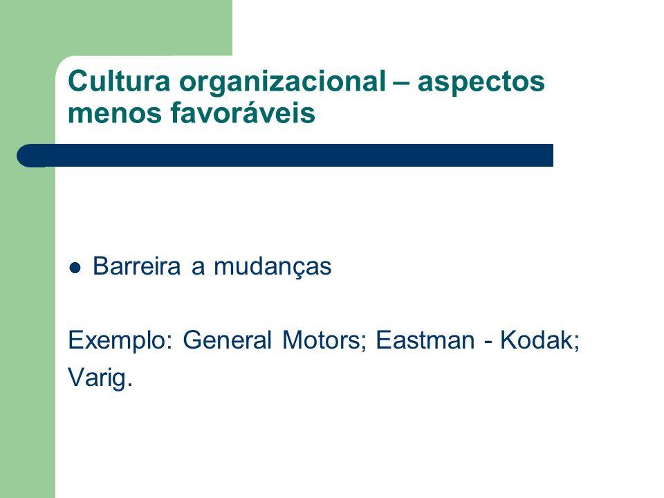 Cultura organizacional – aspectos menos favoráveis Barreira a mudanças Exemplo: General Motors; Eastman - Kodak; Varig.