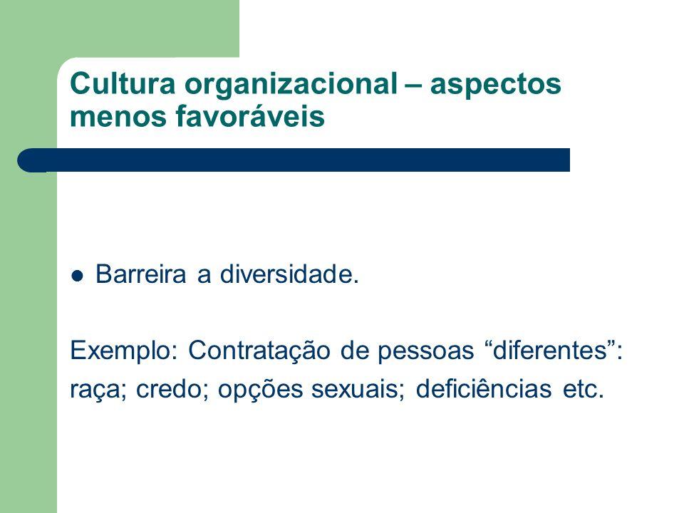 Cultura organizacional – aspectos menos favoráveis Barreira a diversidade. Exemplo: Contratação de pessoas diferentes: raça; credo; opções sexuais; de