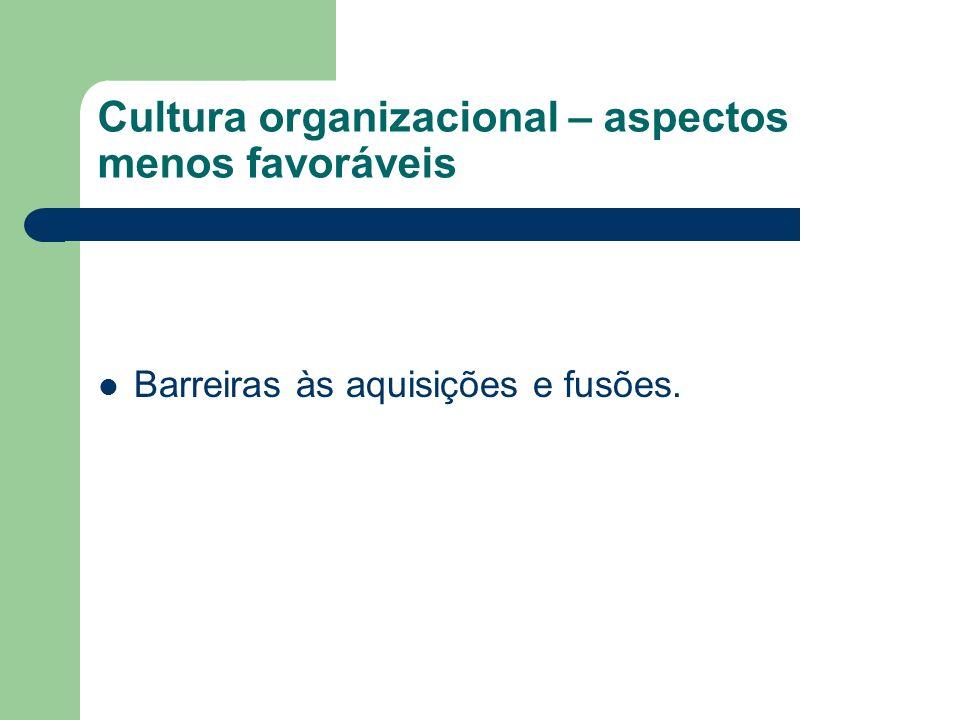 Cultura organizacional – aspectos menos favoráveis Barreiras às aquisições e fusões.