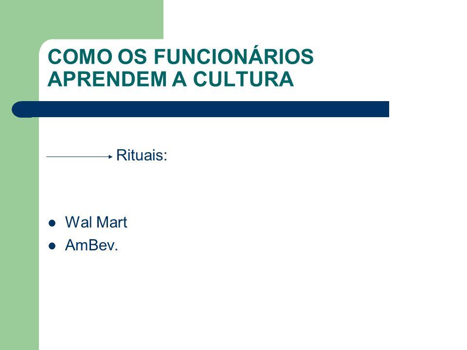 COMO OS FUNCIONÁRIOS APRENDEM A CULTURA Rituais: Wal Mart AmBev.