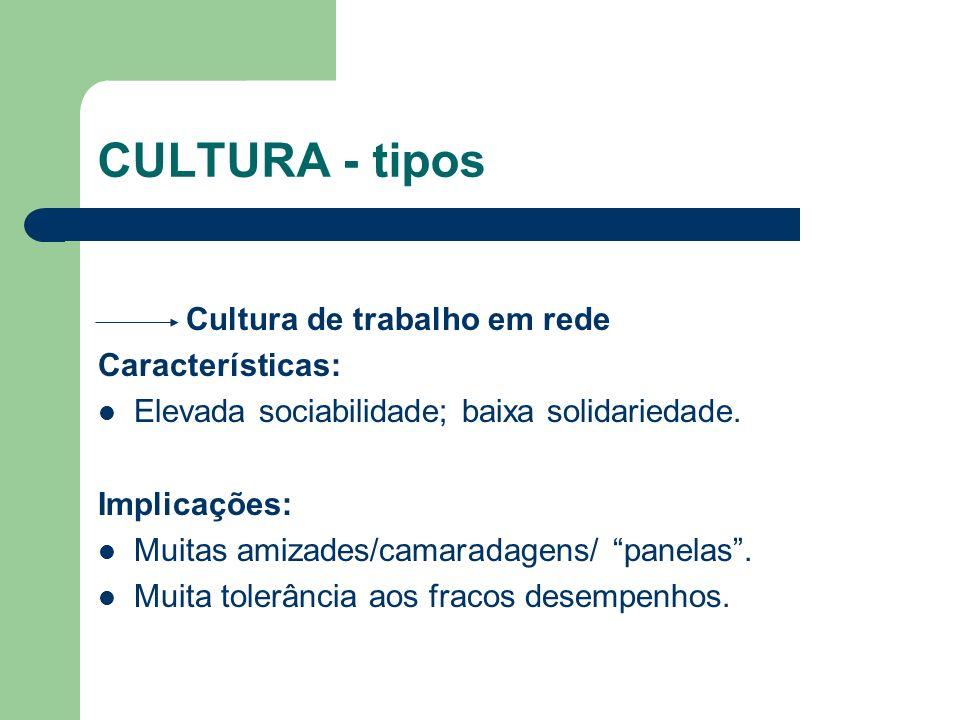 CULTURA - tipos Cultura de trabalho em rede Características: Elevada sociabilidade; baixa solidariedade. Implicações: Muitas amizades/camaradagens/ pa
