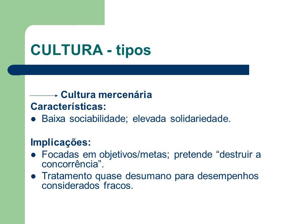 CULTURA - tipos Cultura mercenária Características: Baixa sociabilidade; elevada solidariedade. Implicações: Focadas em objetivos/metas; pretende dest