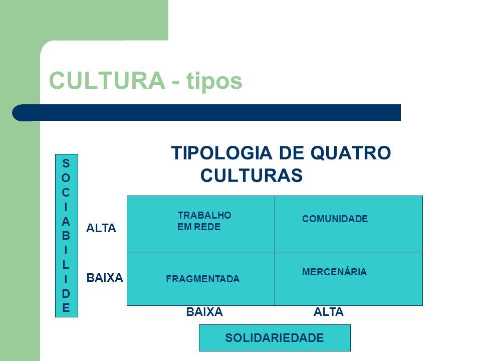 CULTURA - tipos TIPOLOGIA DE QUATRO CULTURAS TRABALHO EM REDE SOCIABILIDESOCIABILIDE SOLIDARIEDADE BAIXA ALTA BAIXA COMUNIDADE MERCENÁRIA ALTA FRAGMENTADA