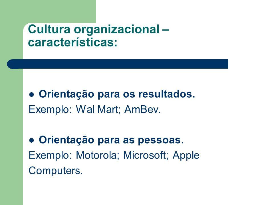 Cultura organizacional – características: Orientação para a equipe.