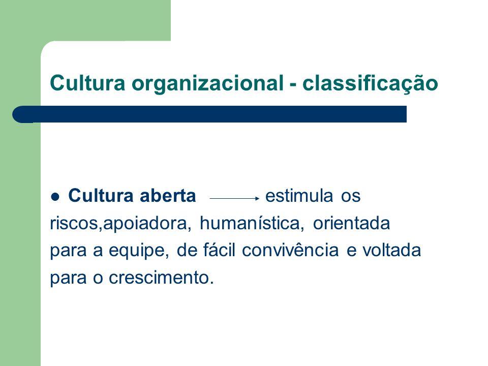 Cultura organizacional - classificação Cultura aberta estimula os riscos,apoiadora, humanística, orientada para a equipe, de fácil convivência e voltada para o crescimento.