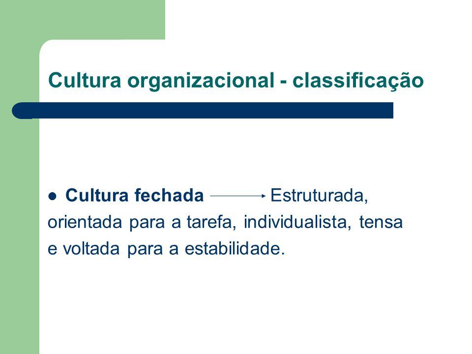 Cultura organizacional - classificação Cultura fechada Estruturada, orientada para a tarefa, individualista, tensa e voltada para a estabilidade.