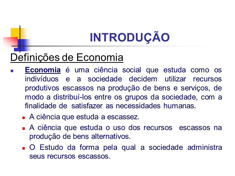 INTRODUÇÃO Definições de Economia Economia é uma ciência social que estuda como os indivíduos e a sociedade decidem utilizar recursos produtivos escas