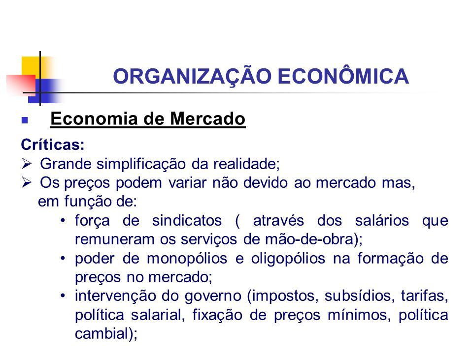 ORGANIZAÇÃO ECONÔMICA Economia de Mercado Críticas: Grande simplificação da realidade; Os preços podem variar não devido ao mercado mas, em função de:
