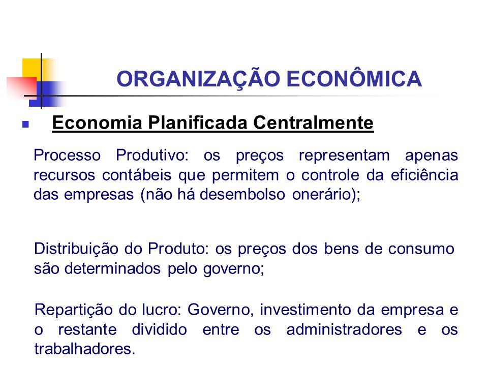 ORGANIZAÇÃO ECONÔMICA Economia Planificada Centralmente Processo Produtivo: os preços representam apenas recursos contábeis que permitem o controle da