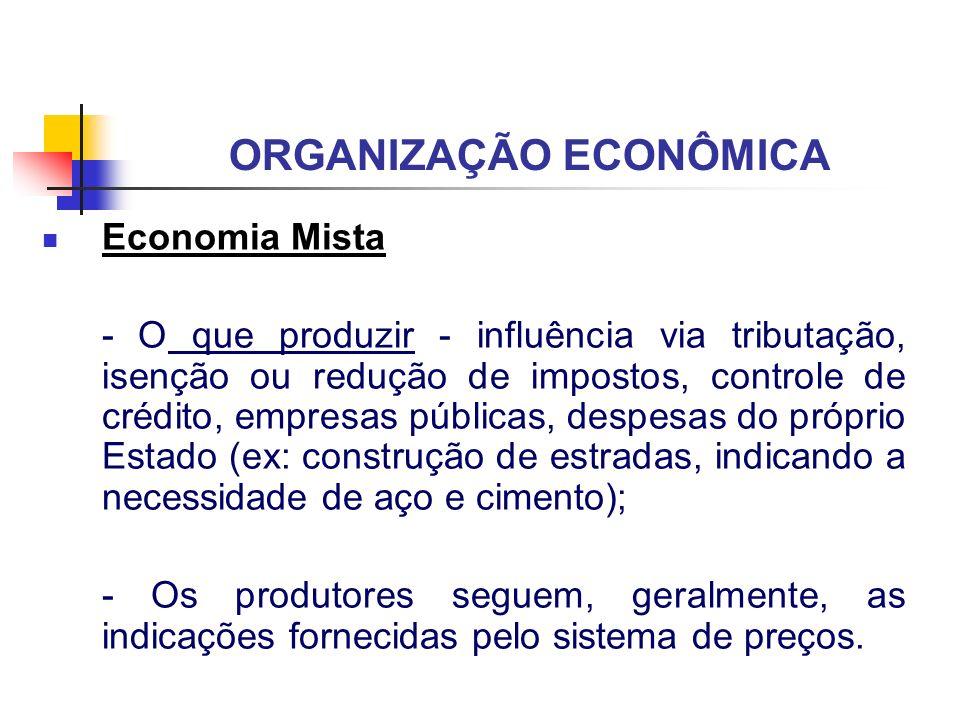 ORGANIZAÇÃO ECONÔMICA Economia Mista - O que produzir - influência via tributação, isenção ou redução de impostos, controle de crédito, empresas públi