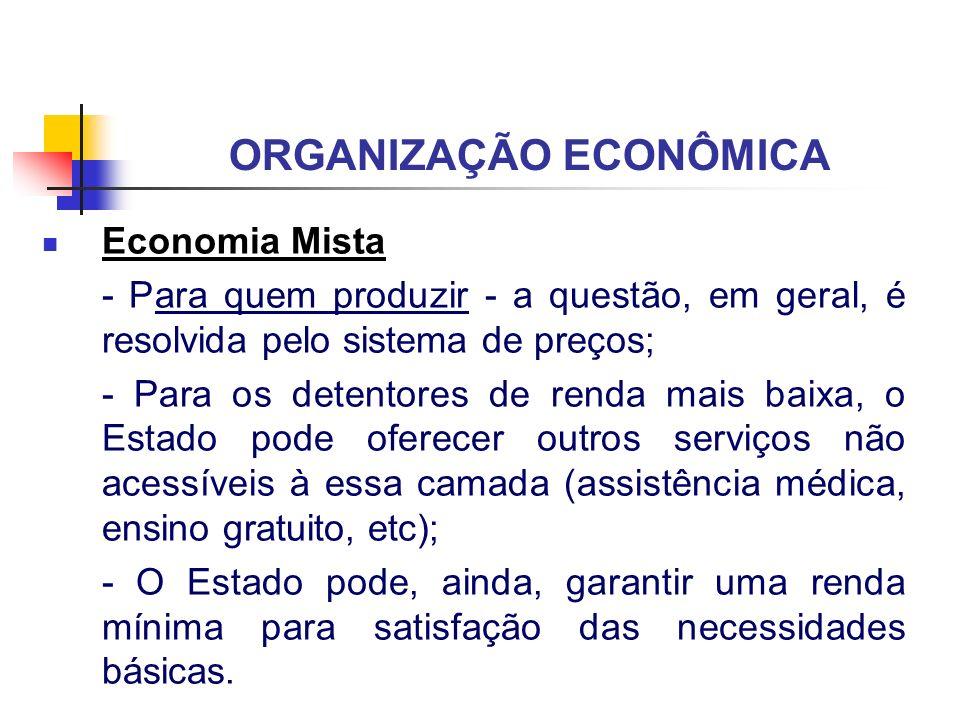 ORGANIZAÇÃO ECONÔMICA Economia Mista - Para quem produzir - a questão, em geral, é resolvida pelo sistema de preços; - Para os detentores de renda mai