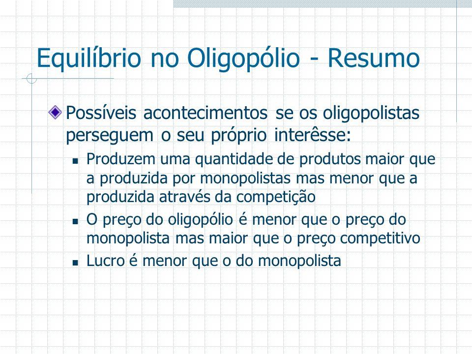 Equilíbrio no Oligopólio - Resumo Possíveis acontecimentos se os oligopolistas perseguem o seu próprio interêsse: Produzem uma quantidade de produtos