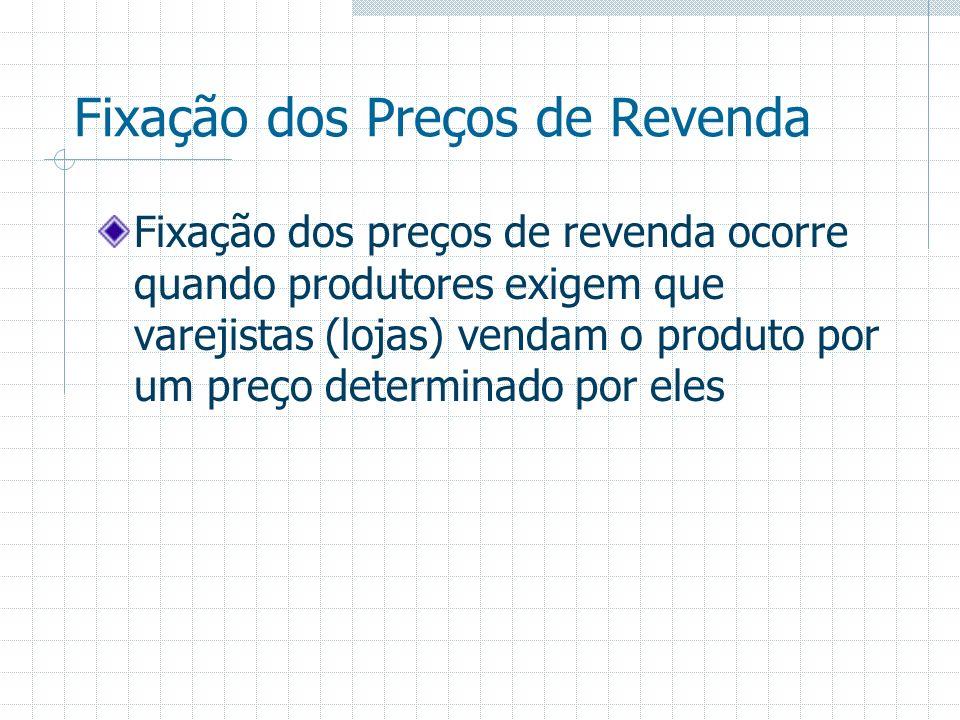 Fixação dos Preços de Revenda Fixação dos preços de revenda ocorre quando produtores exigem que varejistas (lojas) vendam o produto por um preço deter