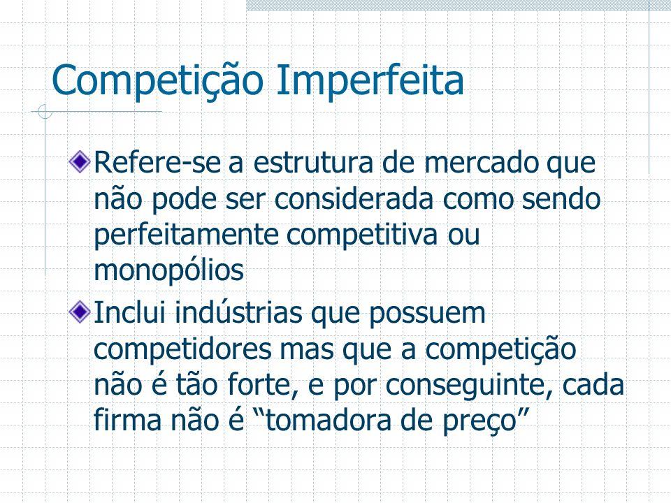 Competição Imperfeita Refere-se a estrutura de mercado que não pode ser considerada como sendo perfeitamente competitiva ou monopólios Inclui indústri