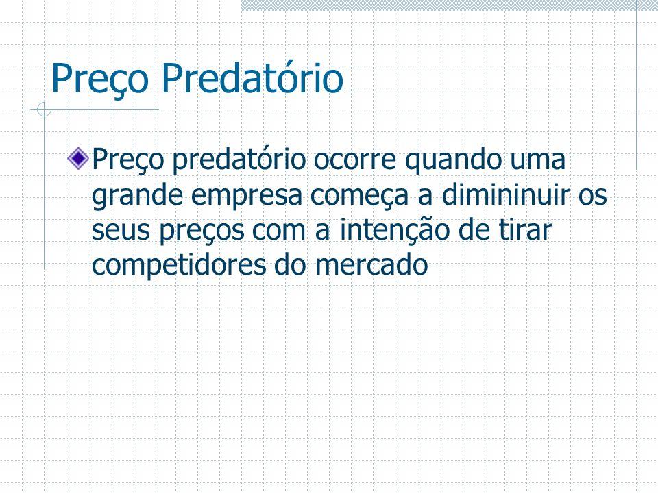 Preço Predatório Preço predatório ocorre quando uma grande empresa começa a dimininuir os seus preços com a intenção de tirar competidores do mercado