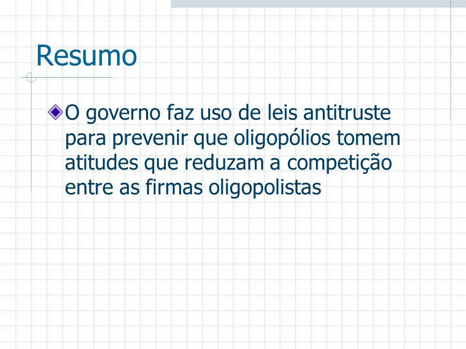Resumo O governo faz uso de leis antitruste para prevenir que oligopólios tomem atitudes que reduzam a competição entre as firmas oligopolistas