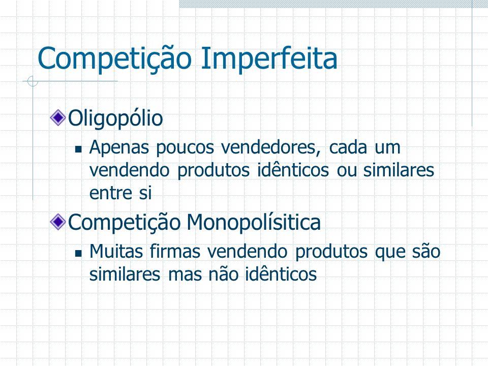 Competição Imperfeita Oligopólio Apenas poucos vendedores, cada um vendendo produtos idênticos ou similares entre si Competição Monopolísitica Muitas