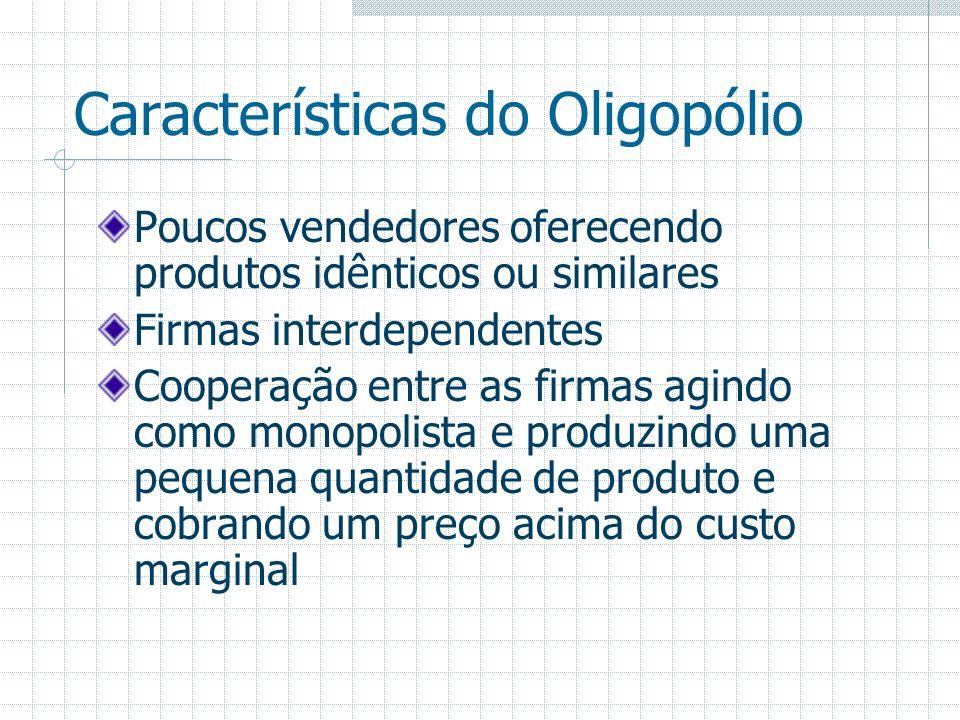 Características do Oligopólio Poucos vendedores oferecendo produtos idênticos ou similares Firmas interdependentes Cooperação entre as firmas agindo c