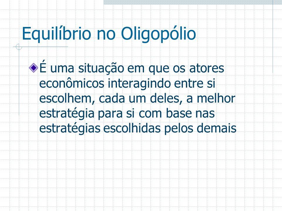 Equilíbrio no Oligopólio É uma situação em que os atores econômicos interagindo entre si escolhem, cada um deles, a melhor estratégia para si com base