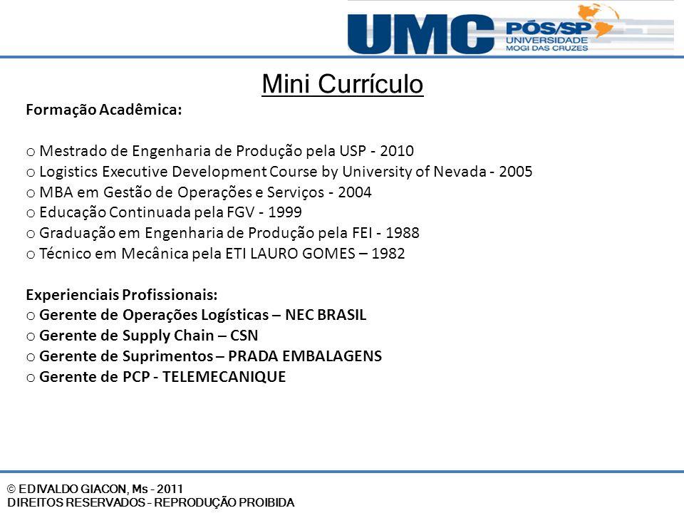 © EDIVALDO GIACON, Ms - 2011 DIREITOS RESERVADOS – REPRODUÇÃO PROIBIDA Mini Currículo Formação Acadêmica: o Mestrado de Engenharia de Produção pela US