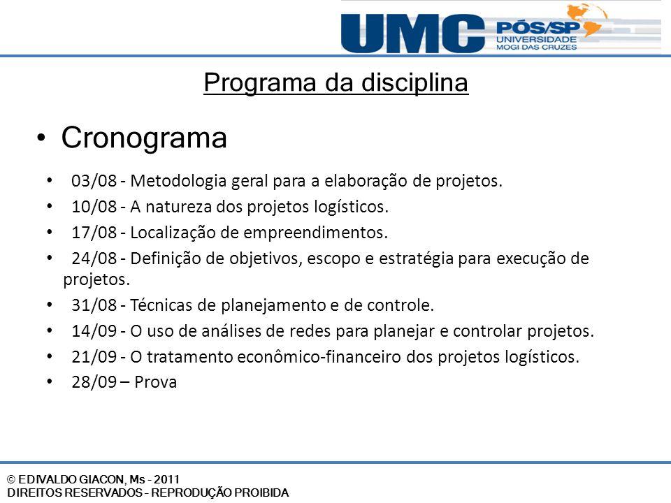 © EDIVALDO GIACON, Ms - 2011 DIREITOS RESERVADOS – REPRODUÇÃO PROIBIDA Programa da disciplina Cronograma 03/08 - Metodologia geral para a elaboração d