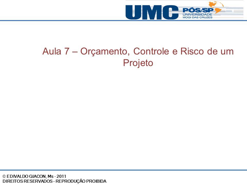 © EDIVALDO GIACON, Ms - 2011 DIREITOS RESERVADOS – REPRODUÇÃO PROIBIDA Aula 7 – Orçamento, Controle e Risco de um Projeto