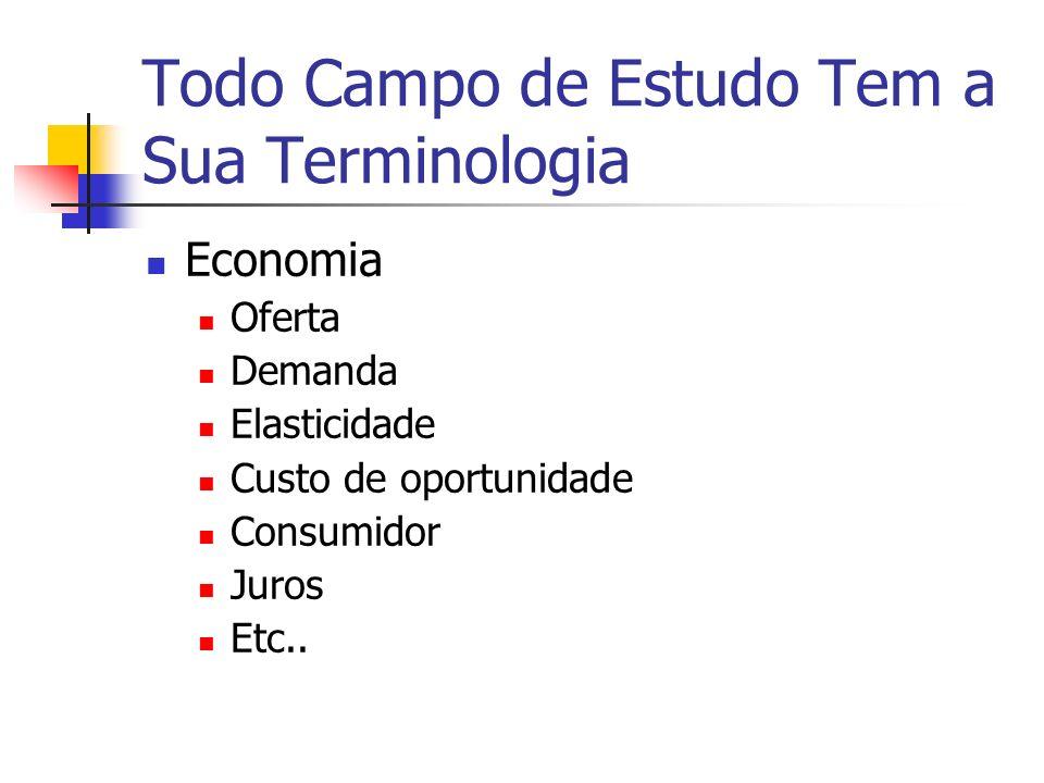Todo Campo de Estudo Tem a Sua Terminologia Economia Oferta Demanda Elasticidade Custo de oportunidade Consumidor Juros Etc..