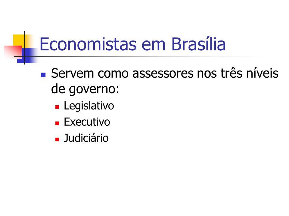 Economistas em Brasília Servem como assessores nos três níveis de governo: Legislativo Executivo Judiciário