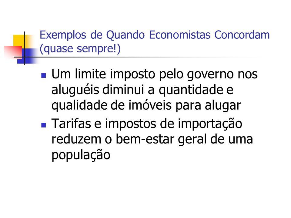 Exemplos de Quando Economistas Concordam (quase sempre!) Um limite imposto pelo governo nos aluguéis diminui a quantidade e qualidade de imóveis para alugar Tarifas e impostos de importação reduzem o bem-estar geral de uma população