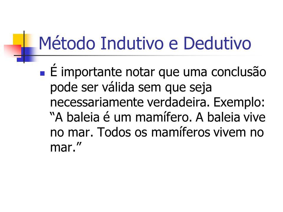 Método Indutivo e Dedutivo É importante notar que uma conclusão pode ser válida sem que seja necessariamente verdadeira. Exemplo: A baleia é um mamífe