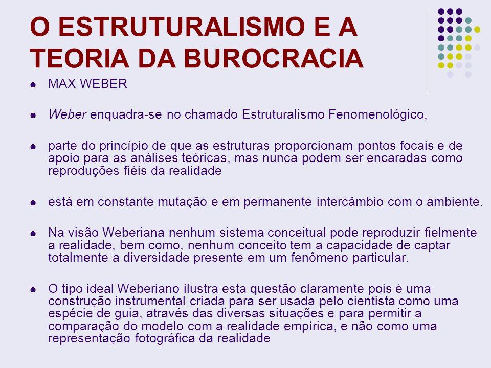 O ESTRUTURALISMO E A TEORIA DA BUROCRACIA MAX WEBER Weber enquadra-se no chamado Estruturalismo Fenomenológico, parte do princípio de que as estrutura