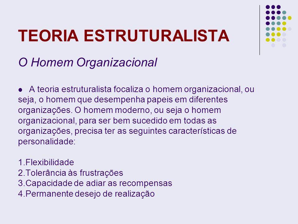 TEORIA ESTRUTURALISTA O Homem Organizacional A teoria estruturalista focaliza o homem organizacional, ou seja, o homem que desempenha papeis em difere