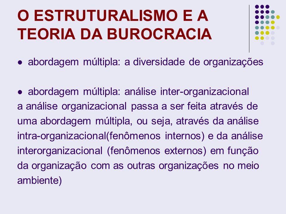 O ESTRUTURALISMO E A TEORIA DA BUROCRACIA abordagem múltipla: a diversidade de organizações abordagem múltipla: análise inter-organizacional a análise
