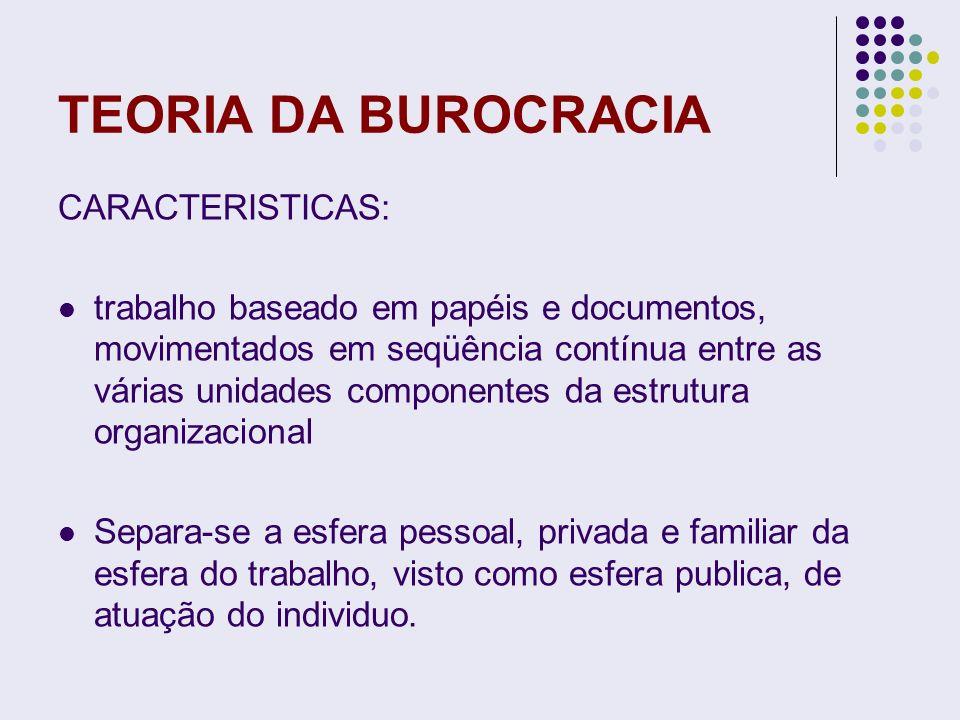 TEORIA DA BUROCRACIA CARACTERISTICAS: trabalho baseado em papéis e documentos, movimentados em seqüência contínua entre as várias unidades componentes