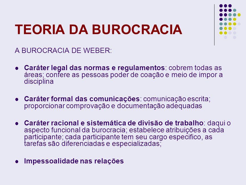 TEORIA DA BUROCRACIA A BUROCRACIA DE WEBER: Caráter legal das normas e regulamentos: cobrem todas as áreas; confere as pessoas poder de coação e meio
