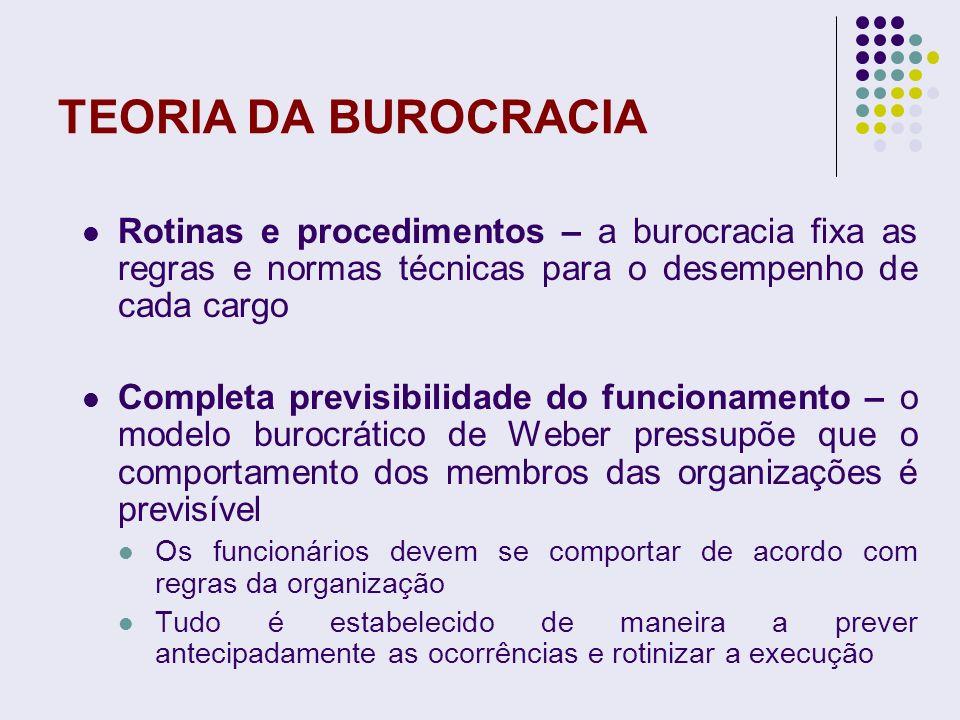 TEORIA DA BUROCRACIA Rotinas e procedimentos – a burocracia fixa as regras e normas técnicas para o desempenho de cada cargo Completa previsibilidade