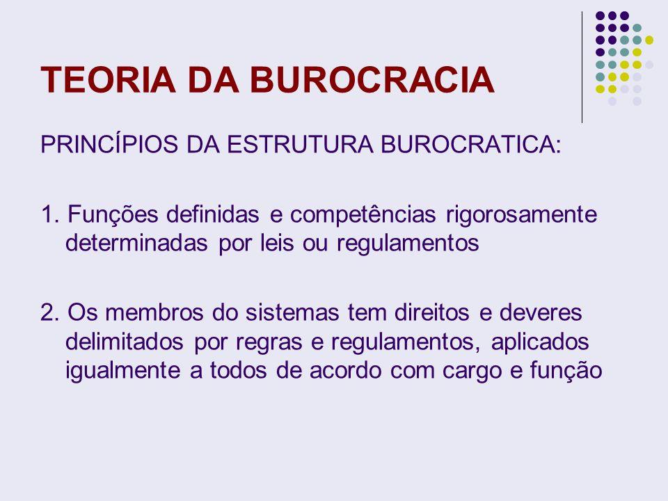TEORIA DA BUROCRACIA PRINCÍPIOS DA ESTRUTURA BUROCRATICA: 1. Funções definidas e competências rigorosamente determinadas por leis ou regulamentos 2. O