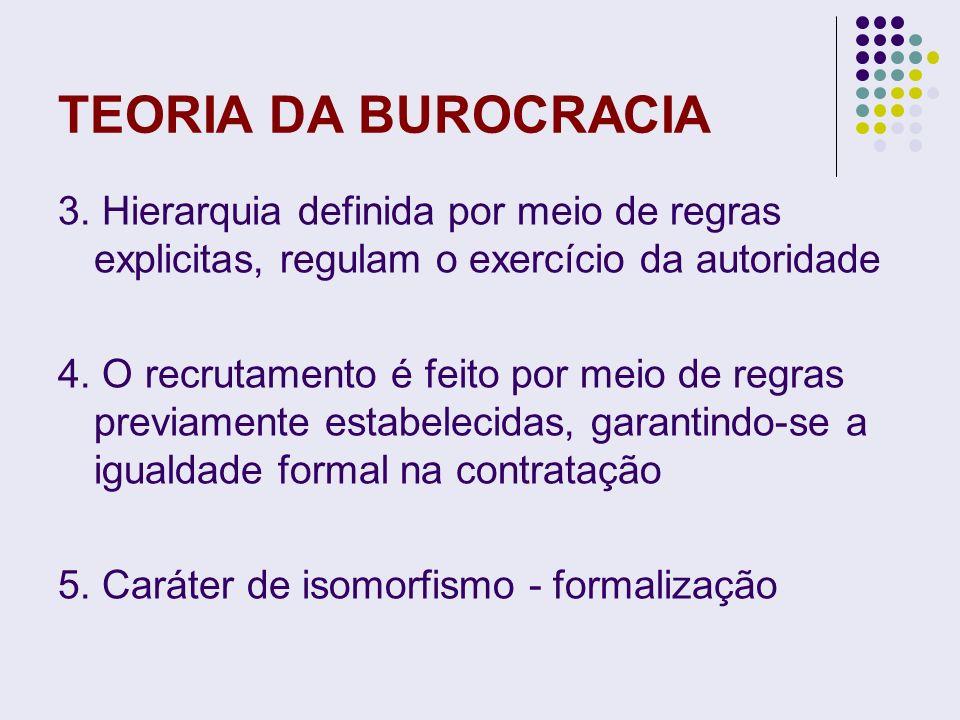 TEORIA DA BUROCRACIA 3. Hierarquia definida por meio de regras explicitas, regulam o exercício da autoridade 4. O recrutamento é feito por meio de reg