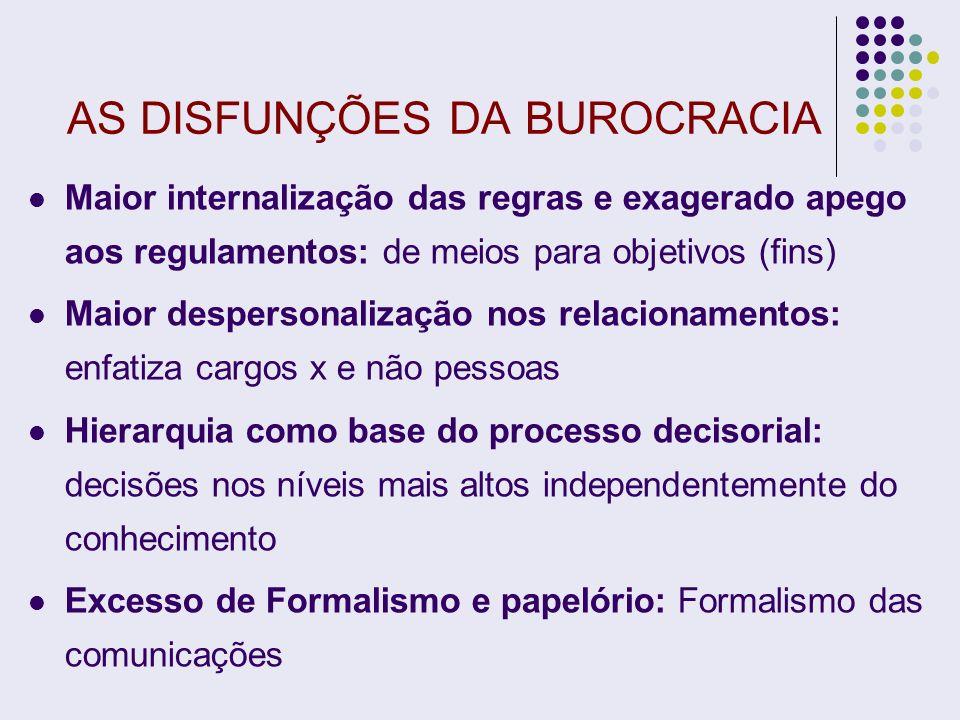 AS DISFUNÇÕES DA BUROCRACIA Maior internalização das regras e exagerado apego aos regulamentos: de meios para objetivos (fins) Maior despersonalização