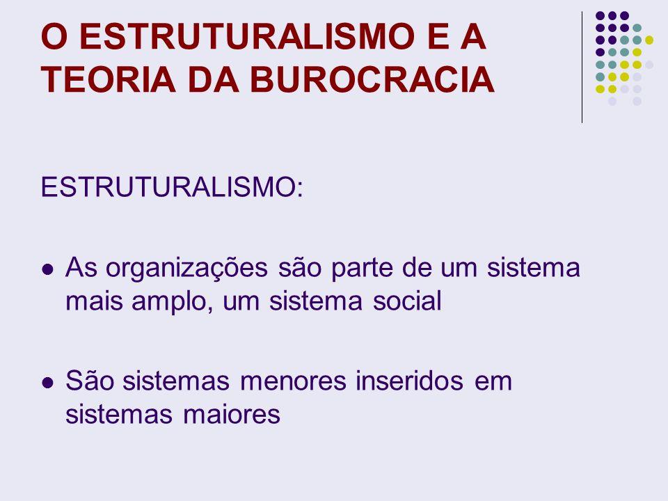 O ESTRUTURALISMO E A TEORIA DA BUROCRACIA Estruturalismo = análise interna, elementos internos de um sistema Considera o relacionamento das partes na constituição do todo Totalidade e interdependência