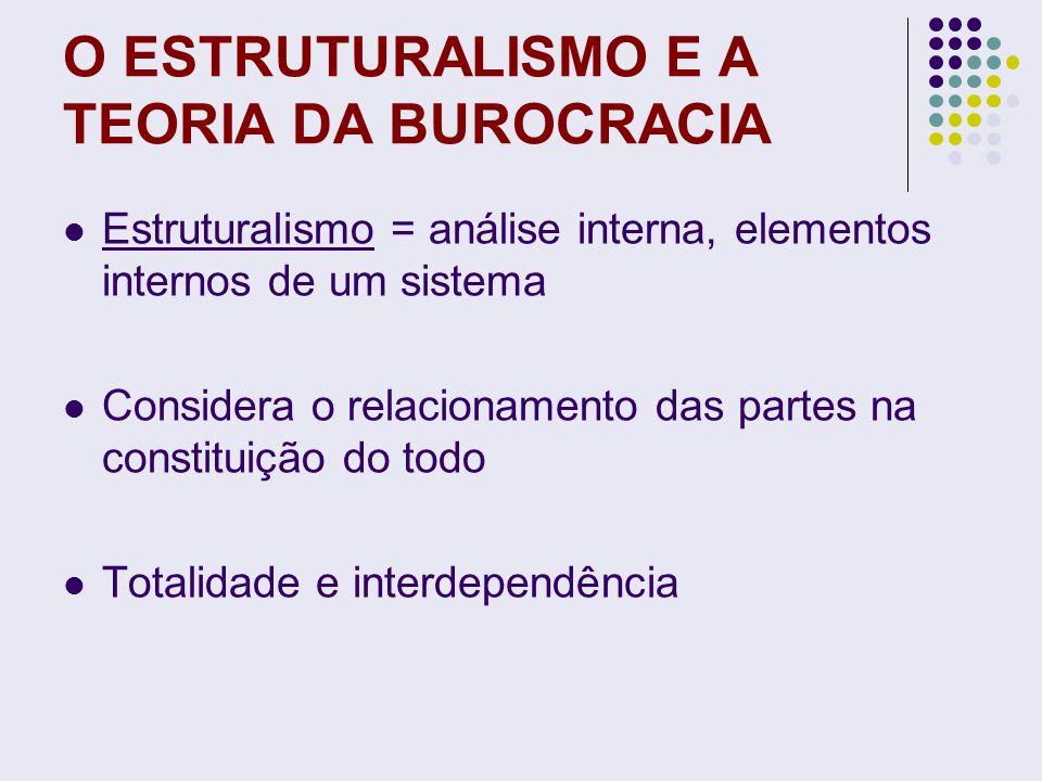 O ESTRUTURALISMO E A TEORIA DA BUROCRACIA Estruturalismo = análise interna, elementos internos de um sistema Considera o relacionamento das partes na