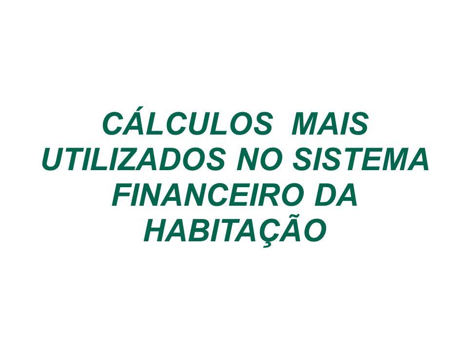 CÁLCULOS MAIS UTILIZADOS NO SISTEMA FINANCEIRO DA HABITAÇÃO