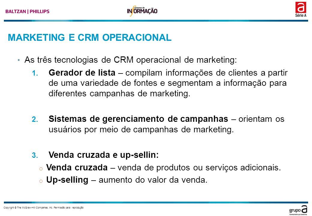 Copyright © The McGraw-Hill Companies, Inc. Permissão para reprodução MARKETING E CRM OPERACIONAL As três tecnologias de CRM operacional de marketing:
