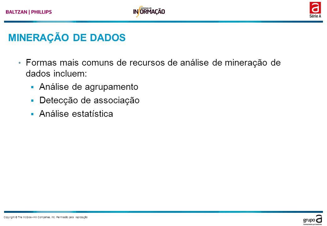 Copyright © The McGraw-Hill Companies, Inc. Permissão para reprodução MINERAÇÃO DE DADOS Formas mais comuns de recursos de análise de mineração de dad