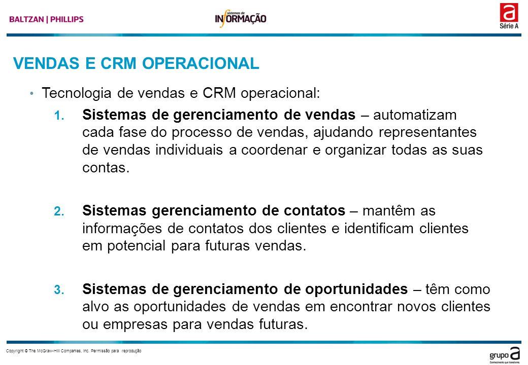 Copyright © The McGraw-Hill Companies, Inc. Permissão para reprodução VENDAS E CRM OPERACIONAL Tecnologia de vendas e CRM operacional: 1. Sistemas de