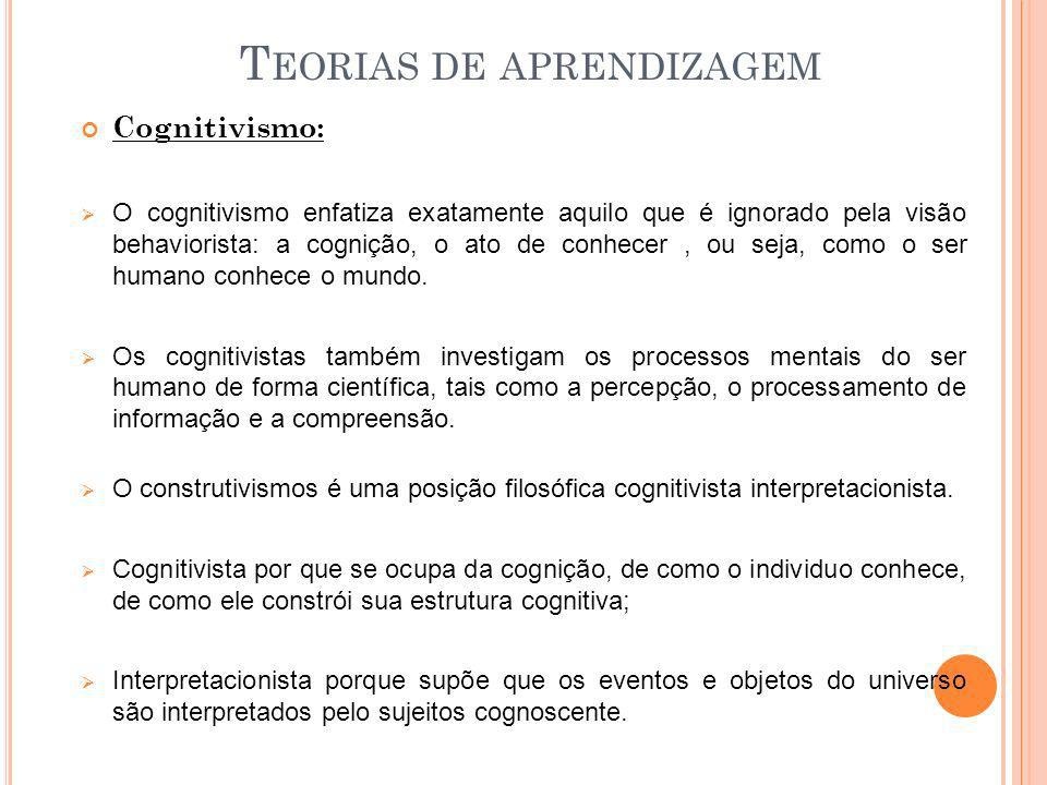 T EORIAS DE APRENDIZAGEM Cognitivismo: O cognitivismo enfatiza exatamente aquilo que é ignorado pela visão behaviorista: a cognição, o ato de conhecer
