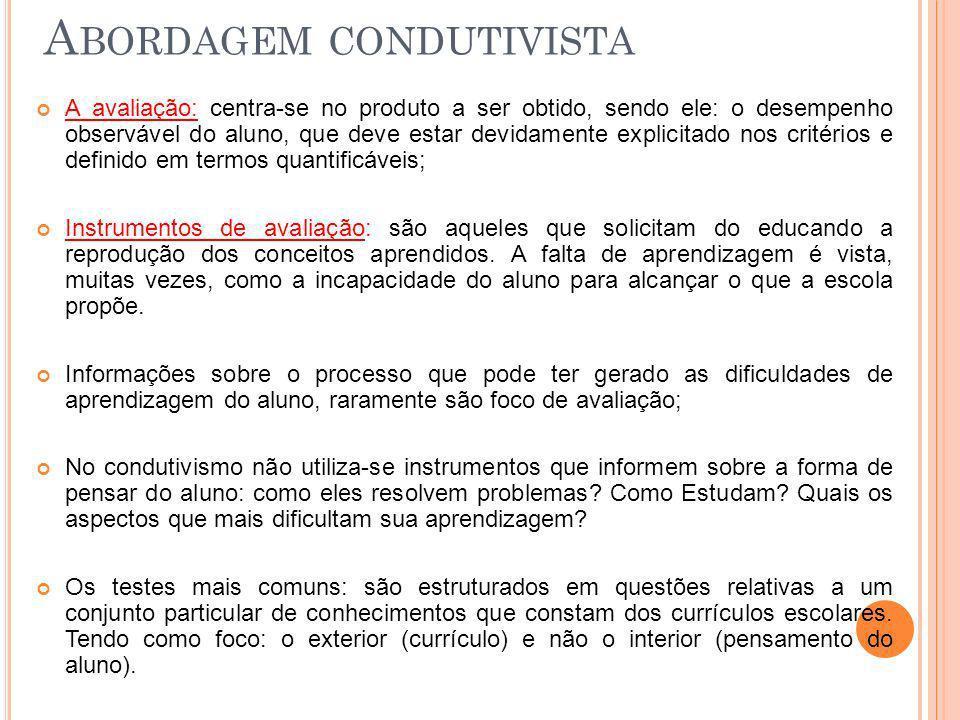A BORDAGEM CONDUTIVISTA A avaliação: centra-se no produto a ser obtido, sendo ele: o desempenho observável do aluno, que deve estar devidamente explic