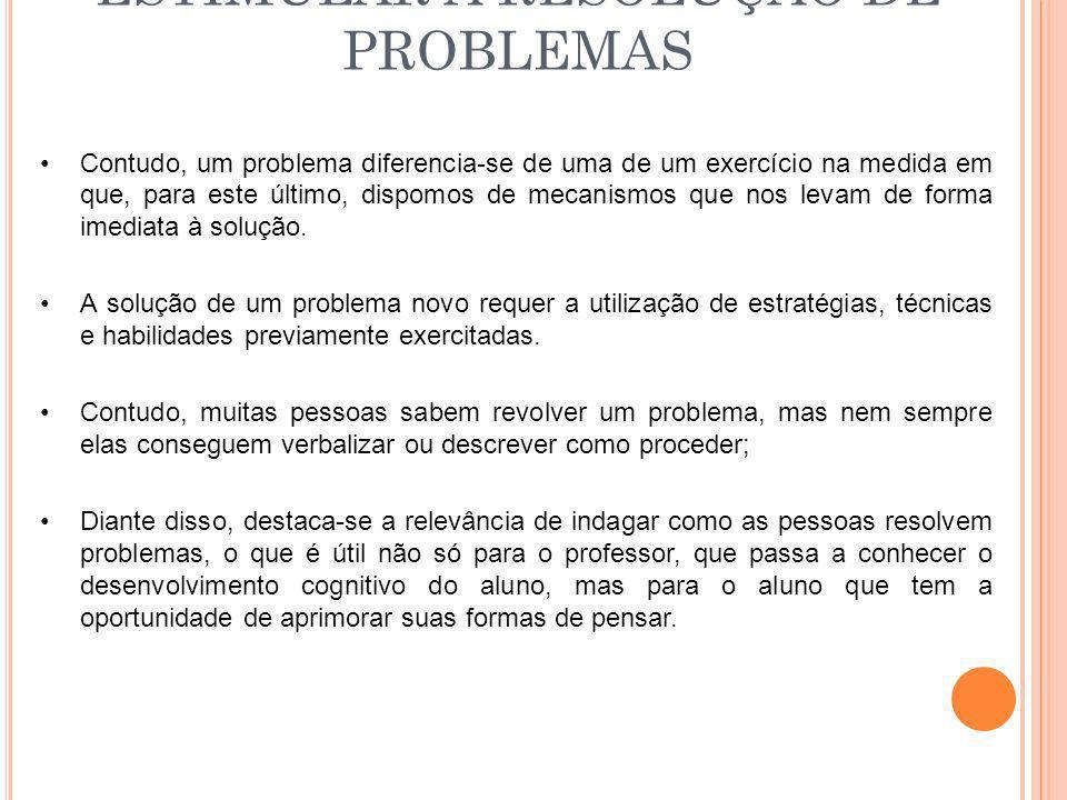 ESTIMULAR A RESOLUÇÃO DE PROBLEMAS Contudo, um problema diferencia-se de uma de um exercício na medida em que, para este último, dispomos de mecanismo