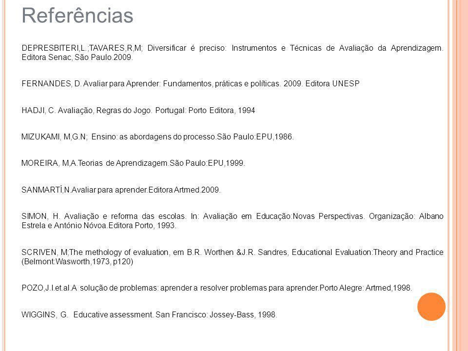 Referências DEPRESBITERI,L.;TAVARES,R,M; Diversificar é preciso: Instrumentos e Técnicas de Avaliação da Aprendizagem. Editora Senac, São Paulo.2009.